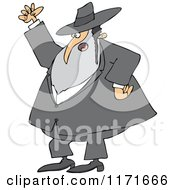 Cartoon Of A Mad Rabbi Waving A Fist In The Air Royalty Free Vector Clipart by djart