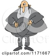 Cartoon Of A Rabbi Holding His Hat Royalty Free Vector Clipart