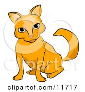 Frisky Orange Cat Clipart Illustration