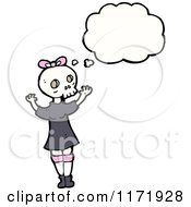 Cartoon Of A Thinking Girl In A Skull Mask Royalty Free Vector Clipart by lineartestpilot