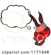 Cartoon Of A Thinking Horned Devil Skull Royalty Free Vector Clipart by lineartestpilot