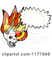 Cartoon Of A Talking Horned Devil Skull With Flames Royalty Free Vector Clipart by lineartestpilot