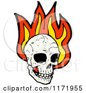 Cartoon Of A Human Skull Over Flames Royalty Free Vector Clipart