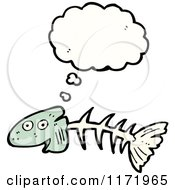 Cartoon Of A Thinking Fish Bone Royalty Free Vector Clipart by lineartestpilot