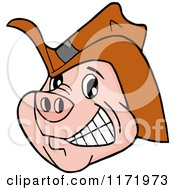 Cartoon Of A Grinning Pig Wearing A Cowboy Hat Royalty Free Vector Clipart