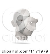 Clipart Of A 3d Human Face With A Mask Slightly Removed Royalty Free CGI Illustration