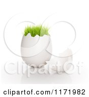 Clipart Of A 3d Cracked Egg Shell With Green Grass Growing On The Top Royalty Free CGI Illustration