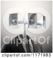 Clipart Of A 3d Business Suit With Megaphone Speakers For A Head Royalty Free CGI Illustration by Mopic