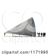 3d Tiny Person Speaking To A Group Through A Giant Megaphone On White