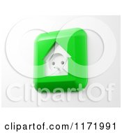 Clipart Of A 3d Green House Shaped Electrical Socket On White Royalty Free CGI Illustration