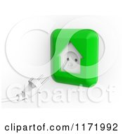 Clipart Of A 3d Cable And Green House Shaped Electrical Socket On White Royalty Free CGI Illustration