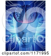 Clipart Of A 3d Artificial Intelligence Head And Brain With Connections Royalty Free CGI Illustration