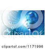 Clipart Of A 3d Head In A Blue Binary Tunnel Royalty Free CGI Illustration by Mopic