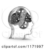 3d Head With Gear Cogs For A Brain Over White