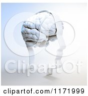 Clipart Of A 3d Head Frame With A White Brain On Shading Royalty Free CGI Illustration