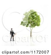 Clipart Of A 3d Businessman Holding An Axe And Looking Up At A Tree On White Royalty Free CGI Illustration