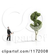 Clipart Of A 3d Man With An Axe Looking Upat A Dollar Tree Royalty Free CGI Illustration by Mopic