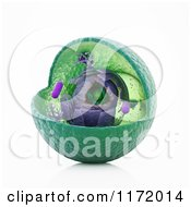 Clipart Of A 3d Animal Cell With Exposed Interior Royalty Free CGI Illustration