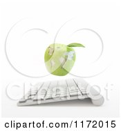 3d Green Apple Globe Over A Computer Keyboard