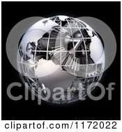 Clipart Of A 3d Grid Metal Earth With A Gear Interior On Black Royalty Free CGI Illustration