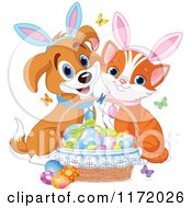 Cute Kitten And Puppy With Bunny Ears And An Easter Basket Of Eggs