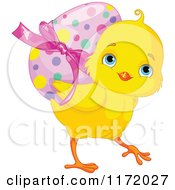 Cartoon Of A Cute Yellow Easter Chick Carrying A Polka Dot Egg On Its Back Royalty Free Vector Clipart by Pushkin