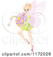 Cartoon Of A Blond Easter Fairy Holding A Wand And Egg Royalty Free Vector Clipart