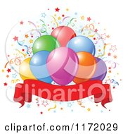 Cartoon Of Colorful Party Balloons And Confetti Over Blue And A Blank Ribbon Banner Royalty Free Vector Clipart