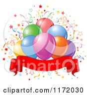 Cartoon Of Colorful Party Balloons And Confetti Over A Blank Ribbon Banner Royalty Free Vector Clipart