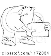 Cartoon Of An Outlined Man Bending Over And Picking Up A Box Royalty Free Vector Clipart