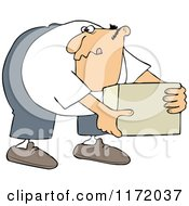 Cartoon Of A Man Bending Over And Picking Up A Box Royalty Free Vector Clipart
