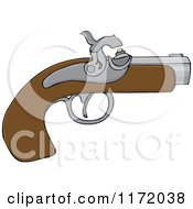 Cartoon Of A Black Powder Pistol Gun Royalty Free Vector Clipart