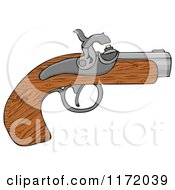 Cartoon Of A Wooden Black Powder Pistol Gun Royalty Free Clipart
