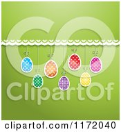 Cartoon Of A Green Background With Lace And Hanging Easter Eggs Royalty Free Vector Clipart