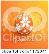 Cartoon Of A Happy Easter Greeting Under A Floral Egg On Orange Royalty Free Vector Clipart
