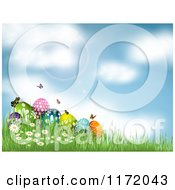 Cartoon Of A Background Of Sunshine Over Easter Eggs And Butterflies In Grass Royalty Free Vector Clipart