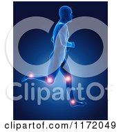Clipart Of A 3d Xray Man Running With Glowing Joints Royalty Free CGI Illustrationb