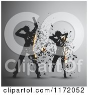 Cartoon Of Silhouetted Dancers Exploding Into Shards On Gray Royalty Free Vector Clipart