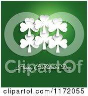 Cartoon Of White Shamrocks Over Happy St Patricks Day Text On Green Royalty Free Vector Clipart by KJ Pargeter
