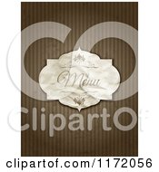 Vintage Crumpled Menu Label On Grungy Brown Stripes