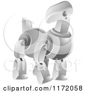 Clipart Of A Silver Robot Dog Royalty Free Vector Illustration