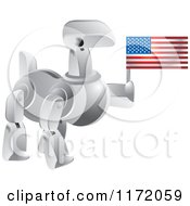 Clipart Of A Silver Robot Dog Holding An American Flag Royalty Free Vector Illustration