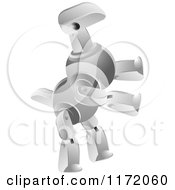 Clipart Of A Silver Robot Dog Standing On Its Hind Legs Royalty Free Vector Illustration