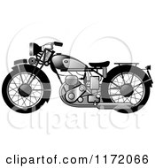 Clipart Of A Chrome Vintage Motorcycle 2 Royalty Free Vector Illustration by Lal Perera