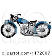 Clipart Of A Blue Vintage Motorcycle Royalty Free Vector Illustration