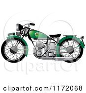 Clipart Of A Green Vintage Motorcycle Royalty Free Vector Illustration