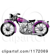 Clipart Of A Purple Vintage Motorcycle Royalty Free Vector Illustration