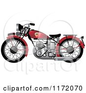 Clipart Of A Red Vintage Motorcycle Royalty Free Vector Illustration