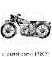 Clipart Of A Chrome Vintage Motorcycle Royalty Free Vector Illustration by Lal Perera
