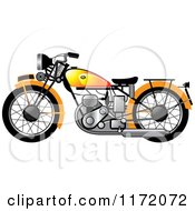 Clipart Of A Yellow Vintage Motorcycle Royalty Free Vector Illustration